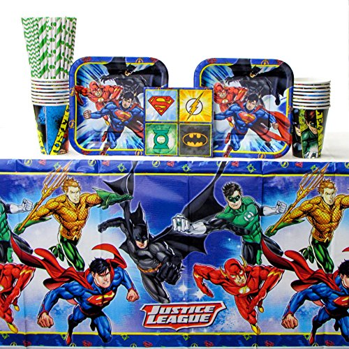 DC Comics Justice League Superheros Birthday Party Supplies Pack Bundle for 16 Guests - Straws, Lunch Plates, Luncheon Napkins, Cups, and Table Cover. Super Hero Birthday supplies for boys and girls. -