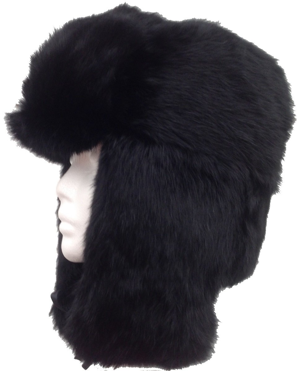 Black Real Rabbit Fur Trooper Trapper Aviator Hat - XXL
