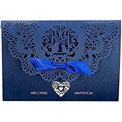 Laser Cut Invitations,Gospire 20PCS Wedding Invitation Kits Including Envelopes & Printable Papers and Ribbon Bowknot for Wedding Bridal Bride Shower Party