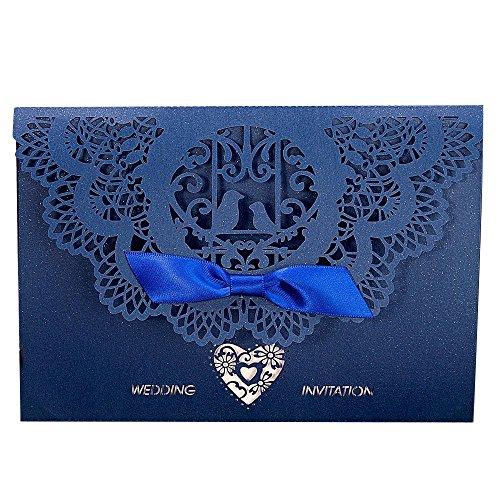 Laser Cut Invitations,Gospire 20PCS Wedding Invitation Kits Including Envelopes & Printable Papers and Ribbon Bowknot for Wedding Bridal Bride Shower -