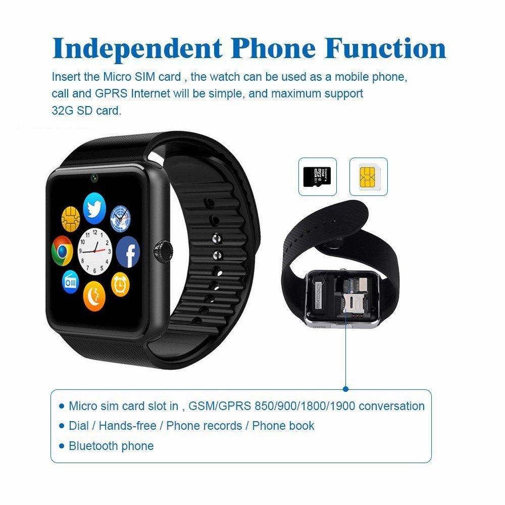 ZAOYI - Montre connectée - GT08 - Bluetooth - Avec appareil photo - Fente pour carte SIM - Notification de synchronisation - Podomètre - Analyse et contrôle ...