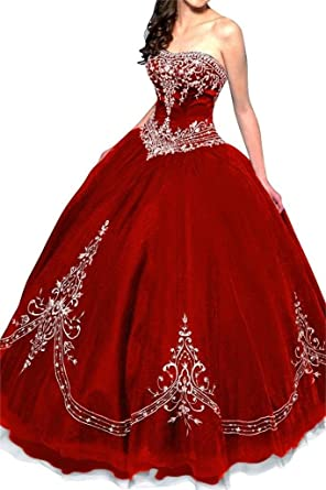 393916a17a DLFASHION Women s Strapless Ball Gown Embroidered Quinceanera Dress Size 18  Red at Amazon Women s Clothing store