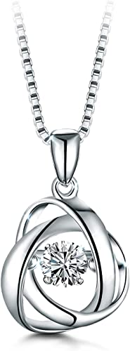 T400 925 Sterling Silver Dancing Diamond Stone White Heart Pendant Necklace Cubic Zirconia Wedding Gift for Women