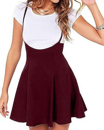 e9df6153a YOINS Women's Suspender Skirts Basic High Waist Versatile Flared Skater  Skirt A-Burgundy XS