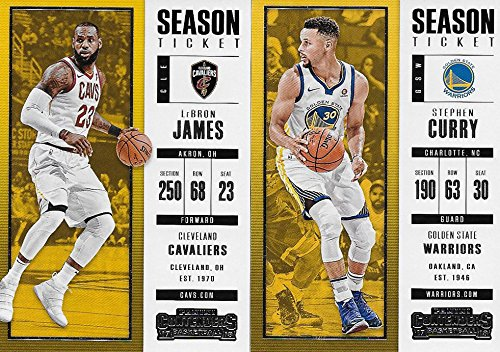 Lebron James Player Card - 2017 2018 Panini Contenders NBA Basketball Series Complete Mint Basic 100 Card Veteran Players Set with Lebron James Stephen Curry Kevin Durant and More