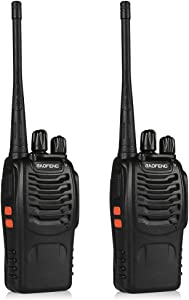 BaoFeng BF-888S Walkie Talkie 2pcs in One Box with Rechargeable Battery Headphone Wall Charger Long Range 16 Channels Two Way Radio (2pcs radios)
