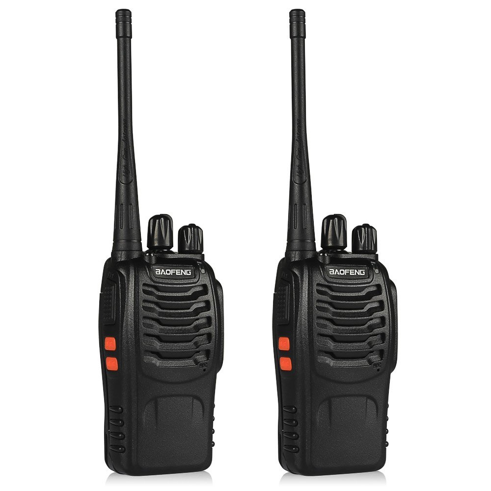 Baofeng BF-888s Walkie Talkies UHF Rechargeable Two Way Radio with LED Flashlight and Earpiece, 2 Pack