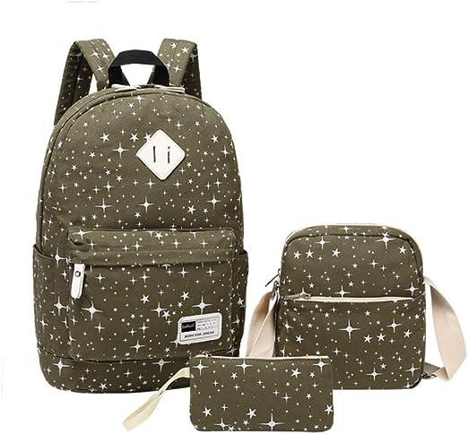 Water Star Spot Shoulder Backpack Messenger Crossbody Laptop Bag Student Bookbags for Kid Girls Boys