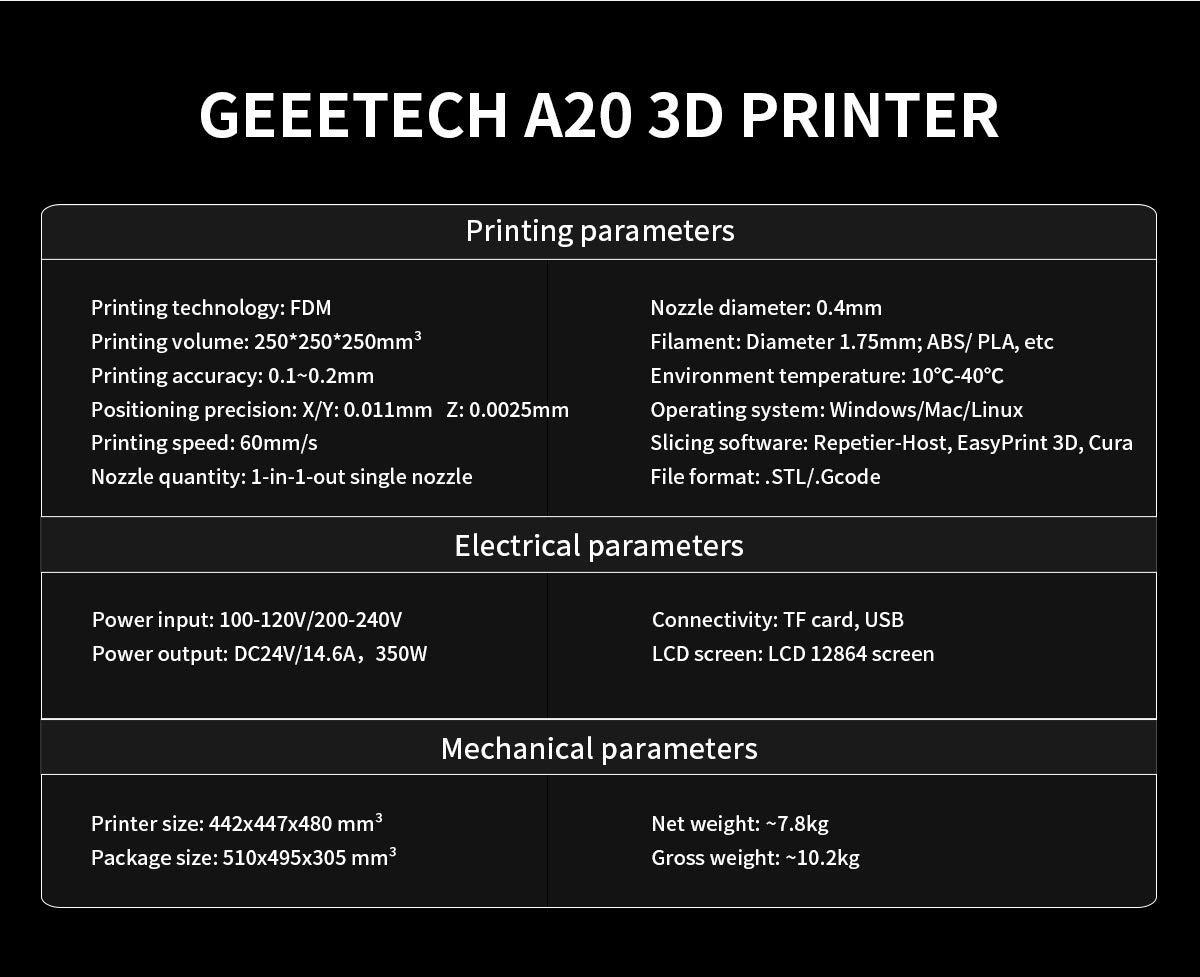 Geeetch A20 - Impresora 3D con zona de impresión, 255 x 255 x 255 ...