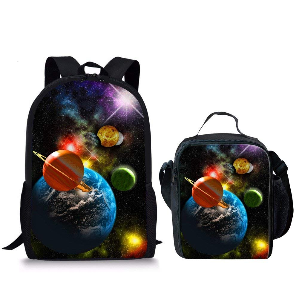 Showudesigns Planet Print School Backpack and Small Lunch Bag for Teens Boys Girls