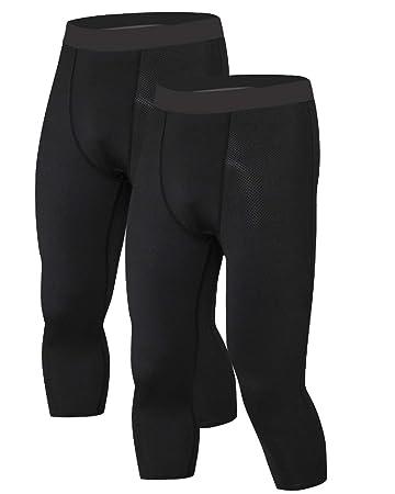 6cc9105824398 LNJLVI Men's 3/4 Compression Pants 2 Pack Capris Base Layer Sports Tights  Leggings (
