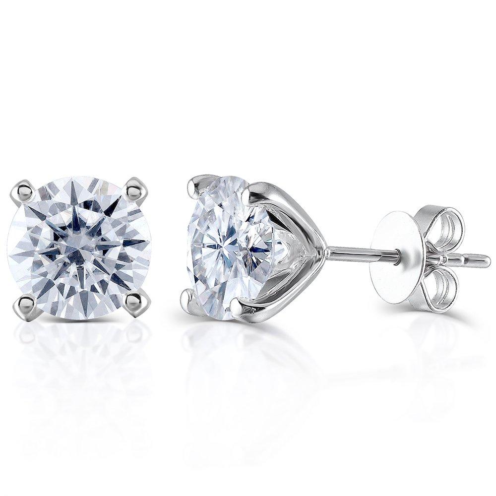 Transgems 14K White Gold H Color Moissanite Simulated Diamond 4 Prongs Stud Earrings Push Back for Women (2)