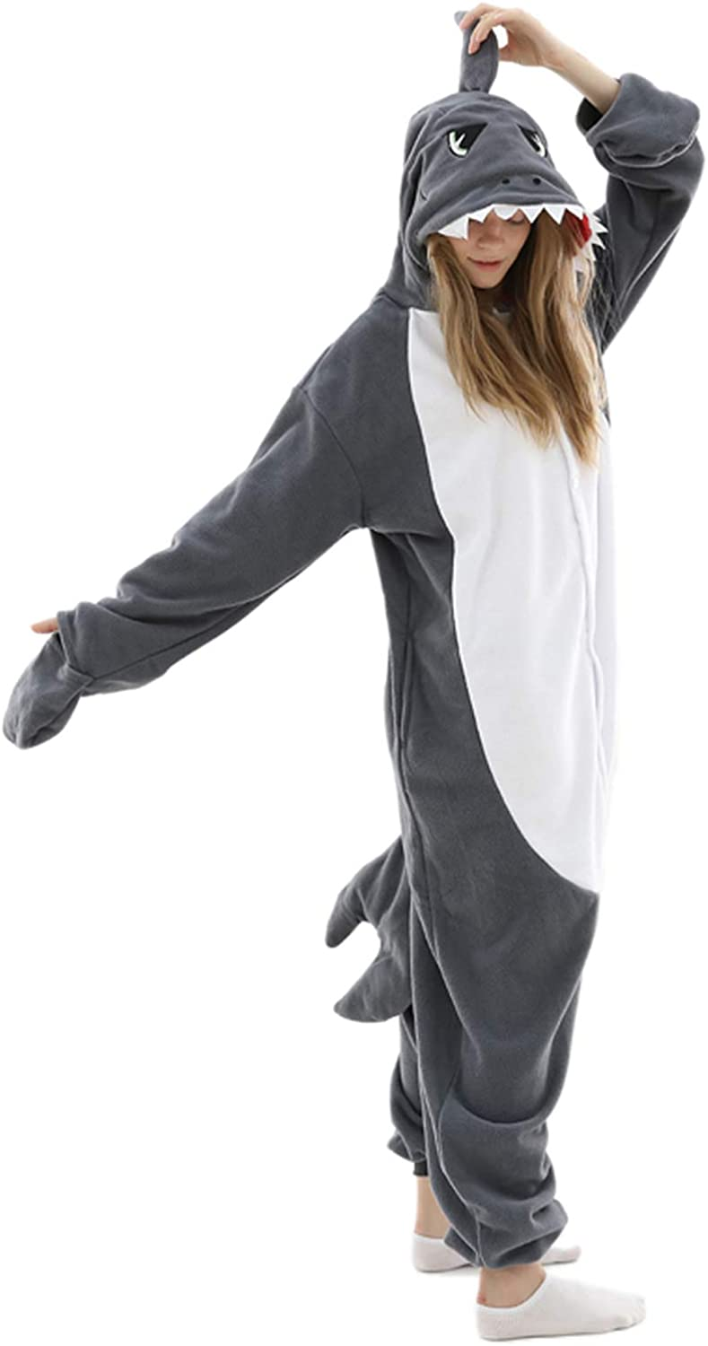 Adult Shark Onesie Pajamas Adult Cosplay Costume Shark One Piece Animal Pajamas Homewear Sleepwear for Women Men