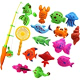 BAOBLADE 15 Pieces Fish Model Set Baby Magnetic Fishing Bath Toy Kid Pretend Play