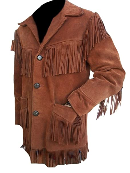 Classyak Mens Western Stylish Suede Leather Jacket Fringed