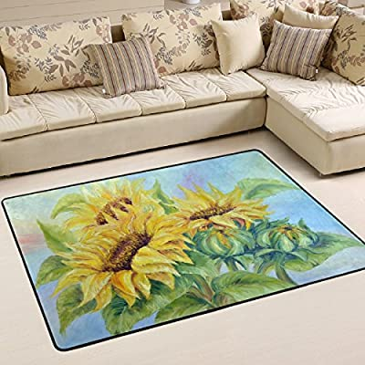 WOOR Oil Painting Sunflowers Living Area Rugs for Living Room Bedroom Dining Office 6 x 4 Feet Modern Floor Mat Home Decor