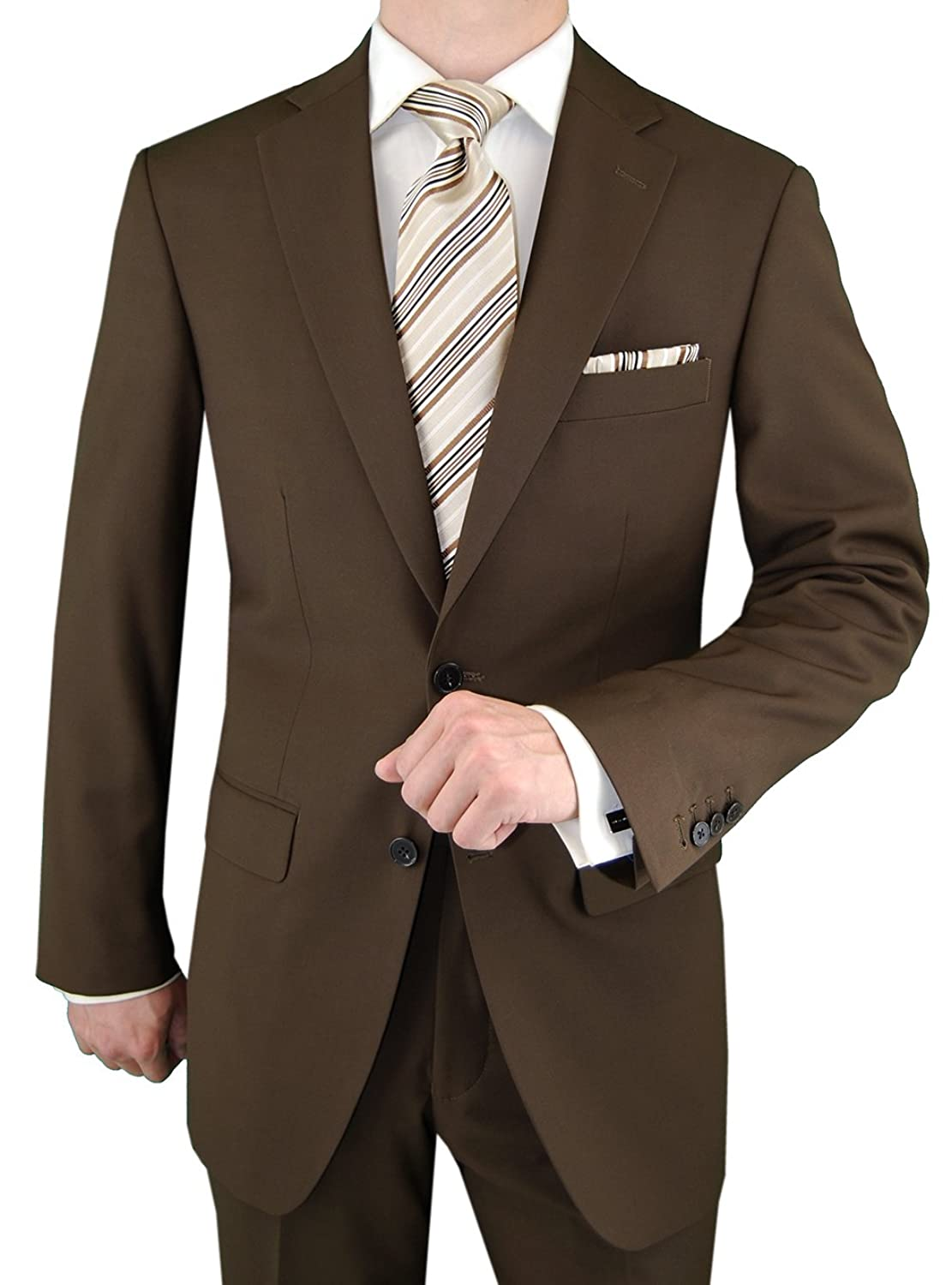Gino Valentino Men's 2 Button Side Vents Jacket Modern Suit