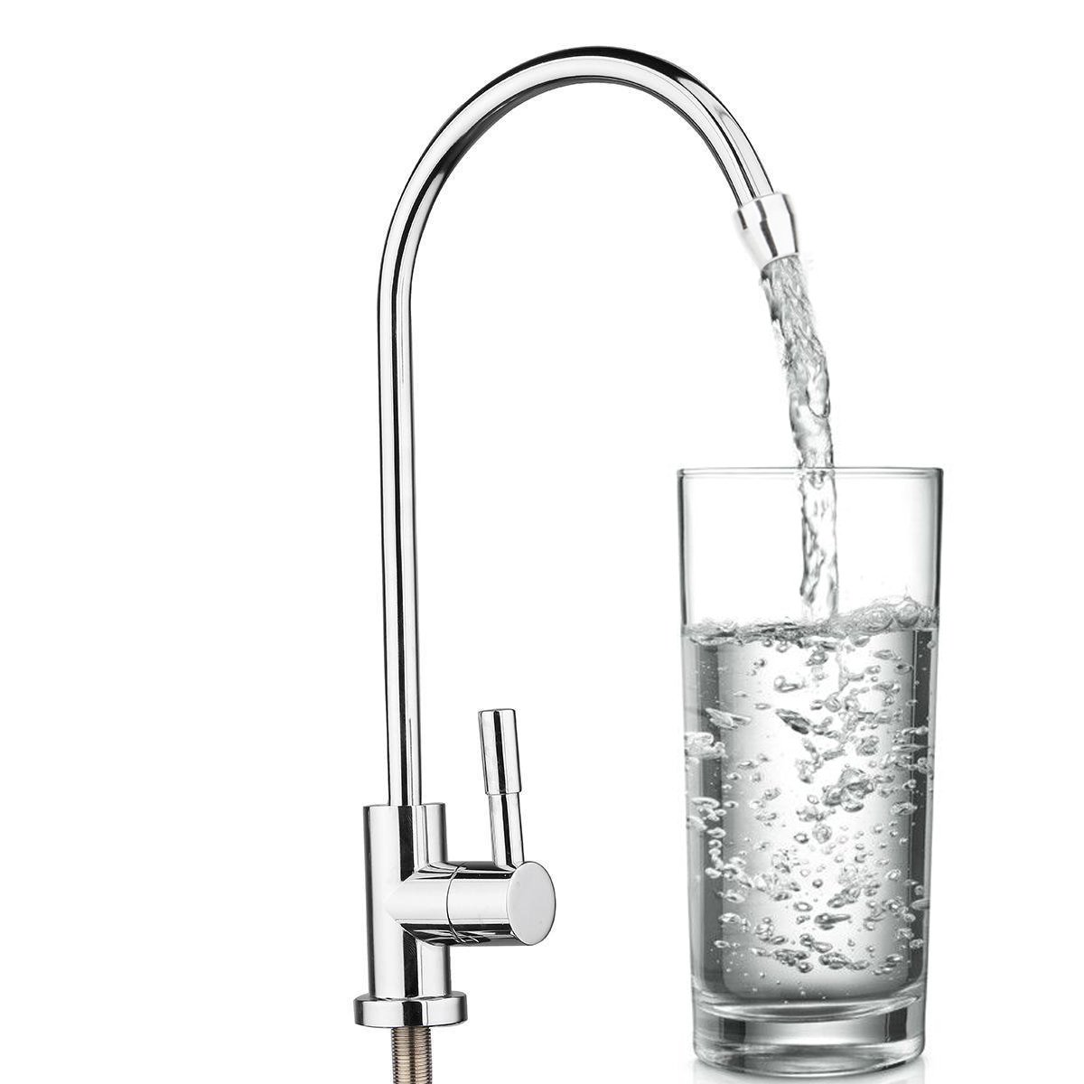 KINWAT 1pc 304 Stainless Steel Water Filter Faucet 1/4'' 360 Degree Chrome Osmosis Drinking RO Finish Reverse Sink Faucets