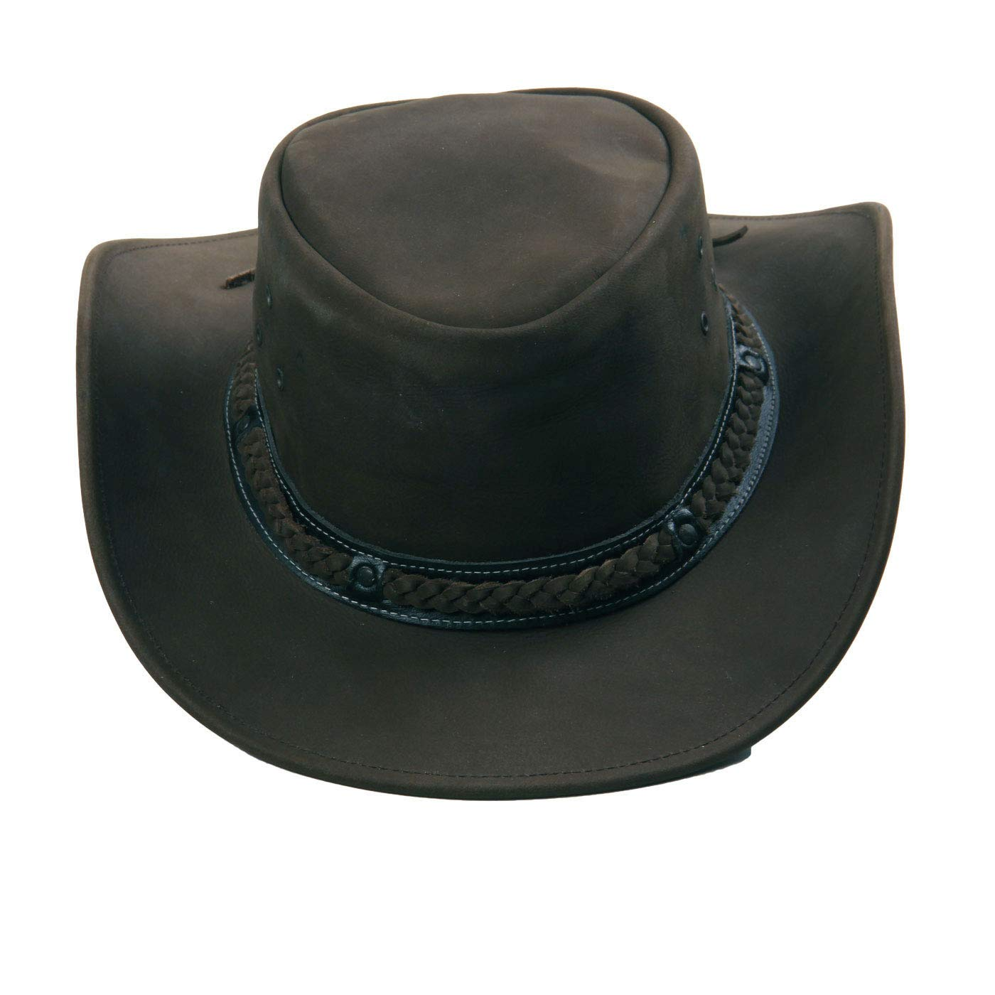 wow Australia Herren Western Cowboy Leder Hut Suede Black Rest-Leder