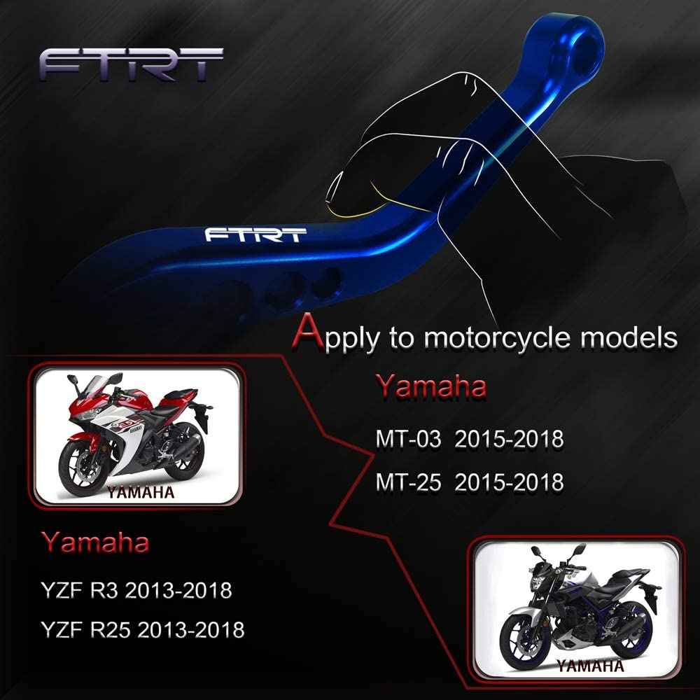 MZS Short Brake Clutch Levers for Yamaha YZF R3 2013-2018// YZF R25 2013-2018// MT-03 2015-2018// MT-25 2015-2018 Gold