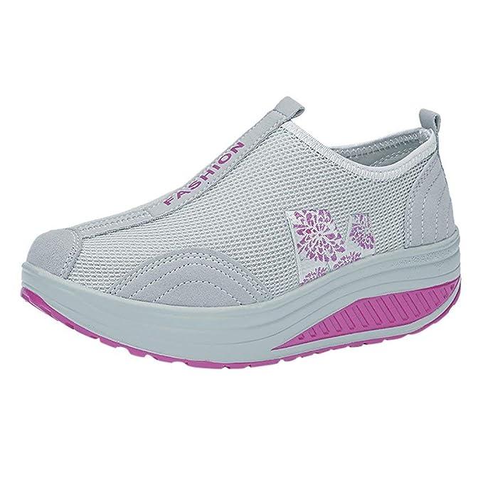 Zilosconcy Zapatillas Deportivas de Mujer Zapatos para Aumentar la Altura Inferiores Suaves mecedoras Femeninas de Malla Transpirable cojín de Aire Shoes: ...