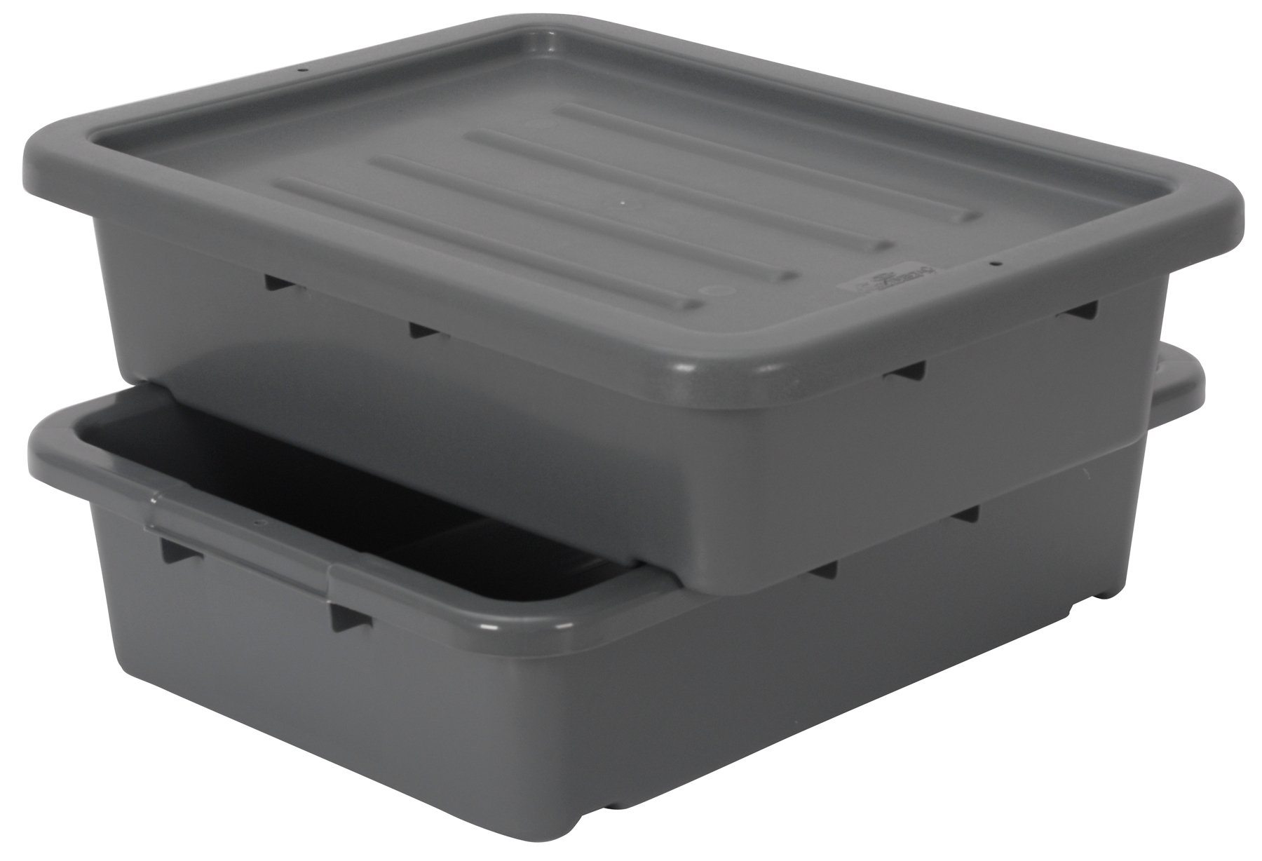 Continental 1525GY-BP, Heavy-Duty Bus Tub and Lid, Bulk Packed, 5'' Depth, Grey (Case of 210)