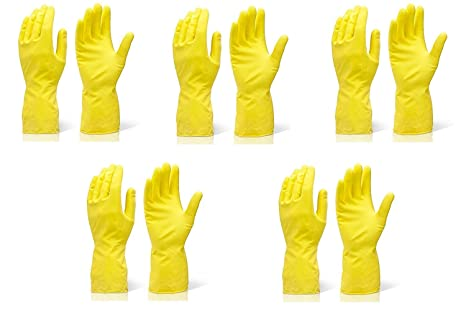 SAFEYURA® Waterproof Cleaning Gloves for Kitchen, Dish Washing, Laundry, Perfect For Garden Lightweight and Durable,Size: Large, FIVE Pairs