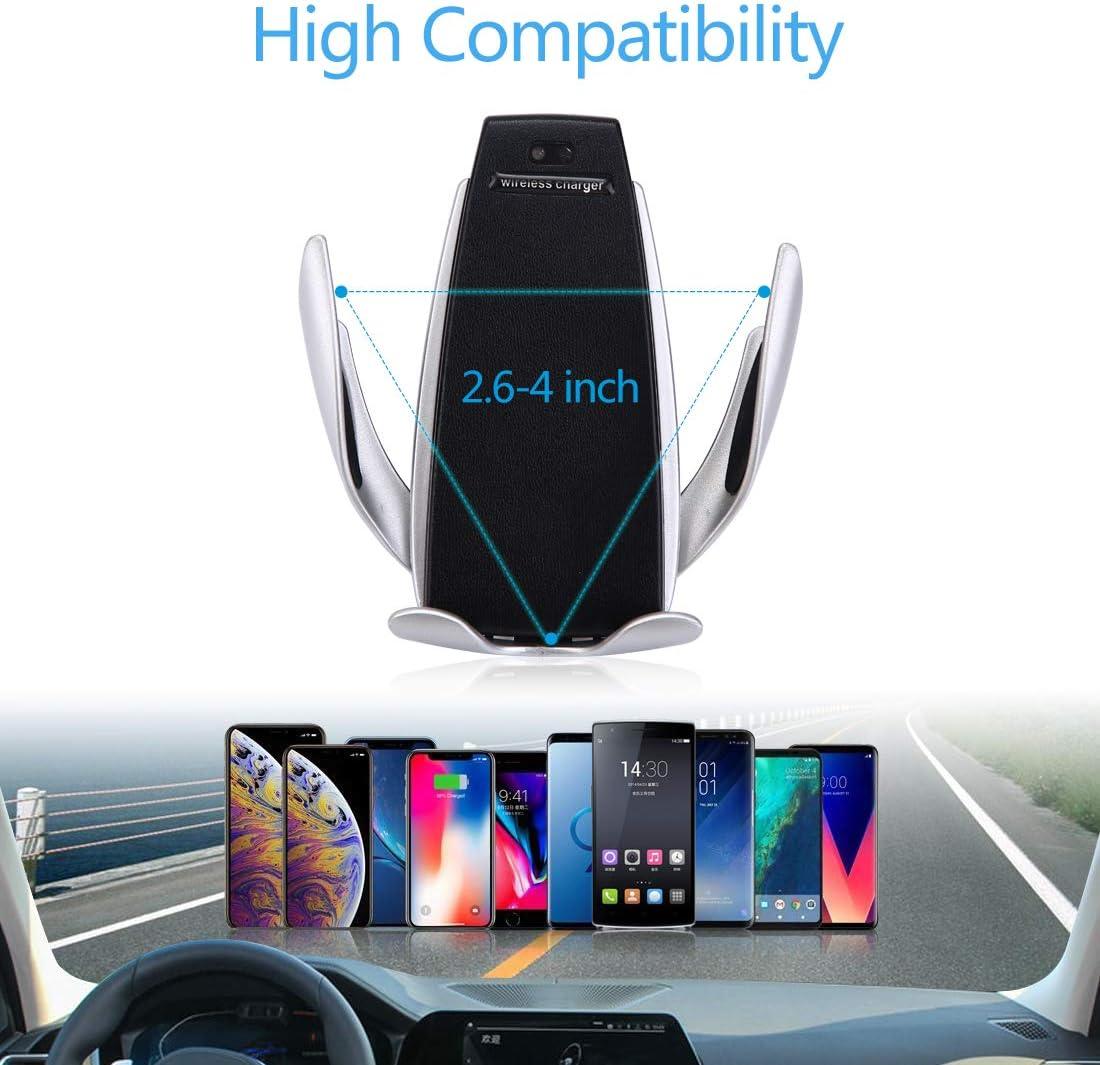 LONOSUN Cargador inalámbrico para automóvil, rotación de 360 ° del Soporte del teléfono, Compatible con iPhone 8 a 11 Pro MAX y Otros teléfonos móviles con Carga inalámbrica