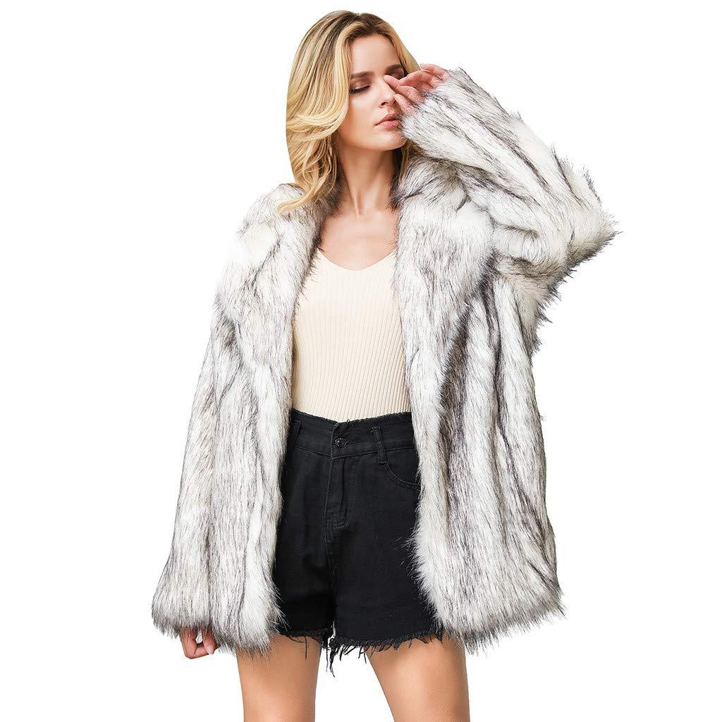 Ultramall Fur Coats for Women Pure Outerwear Faux Fur Cardigan Fluffy Jacket Loose Turn-Down Pocket Coat by Ultramall