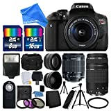 Canon EOS Rebel T6i 24.2MP Digital SLR Camera Bundle w/ Canon EF-S 18-55mm f/3.5-5.6 IS STM [Image Stabilizer] Zoom Lens & EF 75-300mm f/4-5.6 III Telephoto Zoom Lens & DigitalAndMore BUNDLE