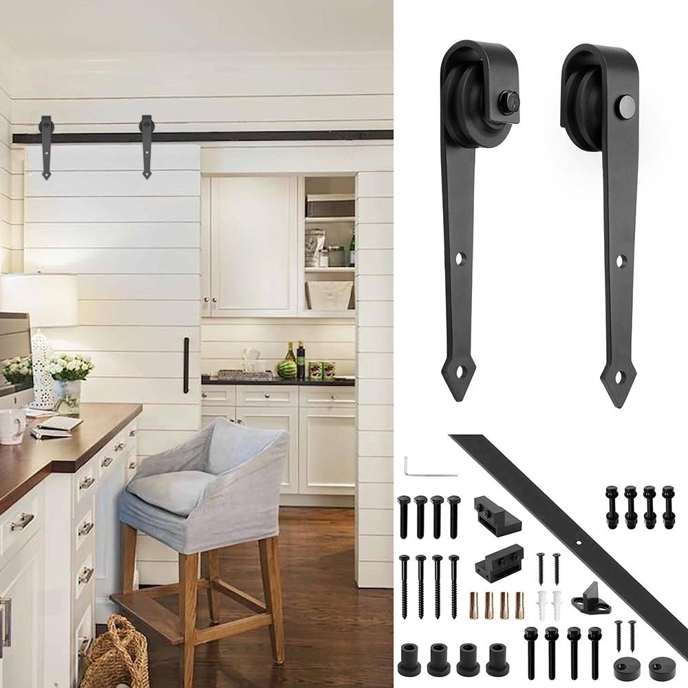 YesHom 6ft Heavy Duty Steel Sliding Barn Wood Door Closet Hardware Track  Rail Kit System Single Door Arrorw Shape Black     Amazon.com
