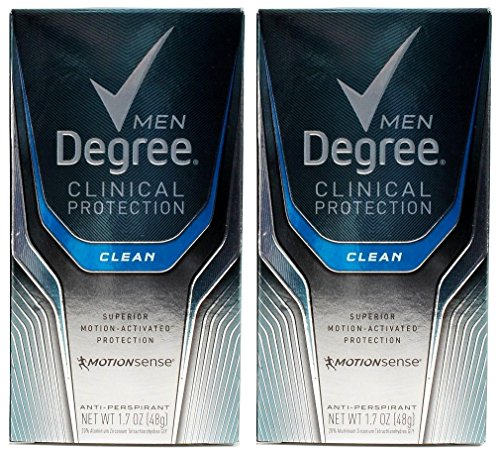 Degree Men Clinical Antiperspirant, Clean, 1.7 Ounce (Pack of 2) (Degree Clinical Protection Men)