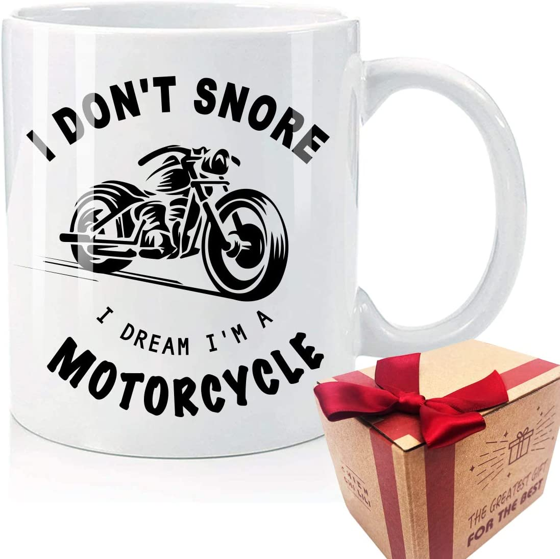 Biker Gifts I Don't Snore I Dream I'm A Motorcycle Coffee Mug Funny Gifts for Thanksgiving, Dad, Grandpa, Brother, Uncle, Husband Gag Funny Gift Coffee Mug Tea Cup