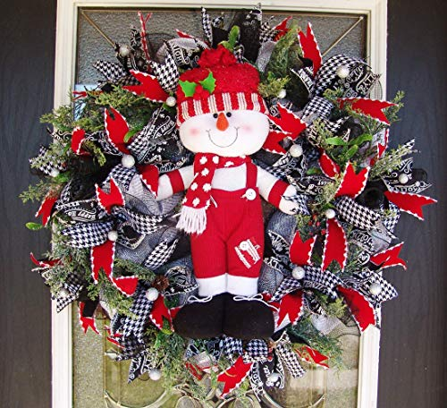 - XL Deluxe Snowman Houndstooth Red Velvet Evergreen Deco Mesh Christmas Wreath, Berries & Pinecones, Porch Patio Wall Fireplace, Yard Prop