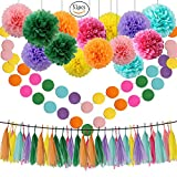 Rainbow Theme Tissue Pom Poms 51 Pcs Paper Flowers,Baby Pink Green Lilac Orange Yellow Fuchsia Aqua Blue Tassel Garland Circle Garland Kit for Baby Shower Decoration Wedding Nursery Decorations