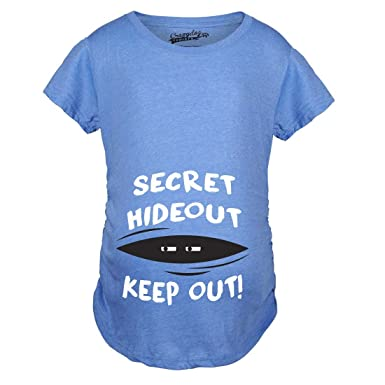 fab4c6439e136 Maternity Secret Hideout Baby Peeking Maternity Shirt Funny Pregnancy Shirts  (Blue) - S