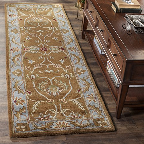 Safavieh Heritage Collection HG812A Handcrafted Traditional Oriental Brown and Blue Wool Runner 2 3 x 12