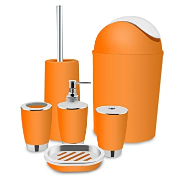 orange and grey bathroom accessories. Orange Bathroom Accessories Set Bath Toilet Brush With  Trash Can Toothbrush Holder And Amazon Com