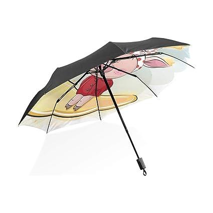 Golf Paraguas para niños Lindo Alegre Piggy Moon Pig ...