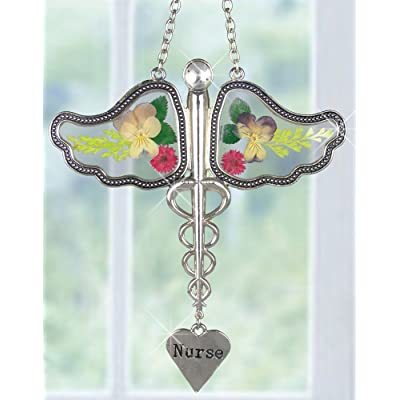 Nurse Caduceus Suncatcher with Real Pressed Flowers in Glass Wings and Silver Metal Engraved Heart Shaped Charm - Gifts for Nurses - Nurse Practitioners - Nurse Gifts - Nurse Graduation Gifts : Garden & Outdoor