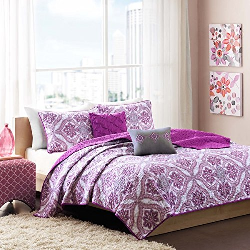 Reversible Teen Girls Purple Grey Paisley Coverlet Bedding Set