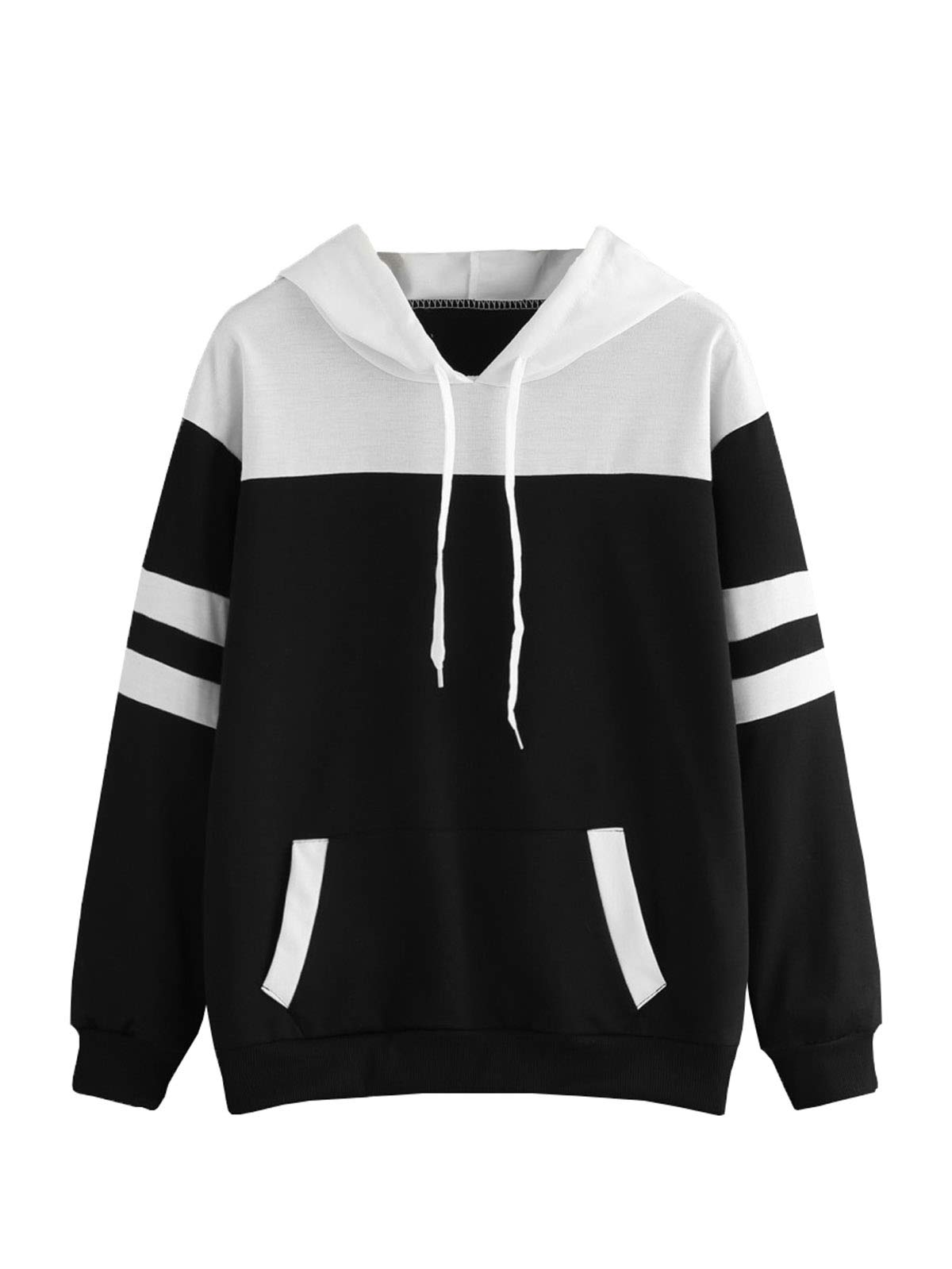 Floerns Women's Hooded Striped Long Sleeve Pocket Pullover Sweatshirt Black and White L