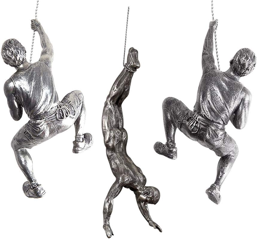 Olpchee 3Pcs Men Climbing Wall Sculpture Set Resin Wall Art Statue for Home/Living Room/Bedroom/Outdoor Decor (Silver Rust)