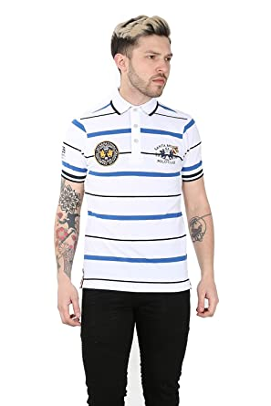 2a63451a Santa Monica Mens Collared Button Up Stipes Short Sleeve Polo T Shirt Top  S-XL: Amazon.co.uk: Clothing