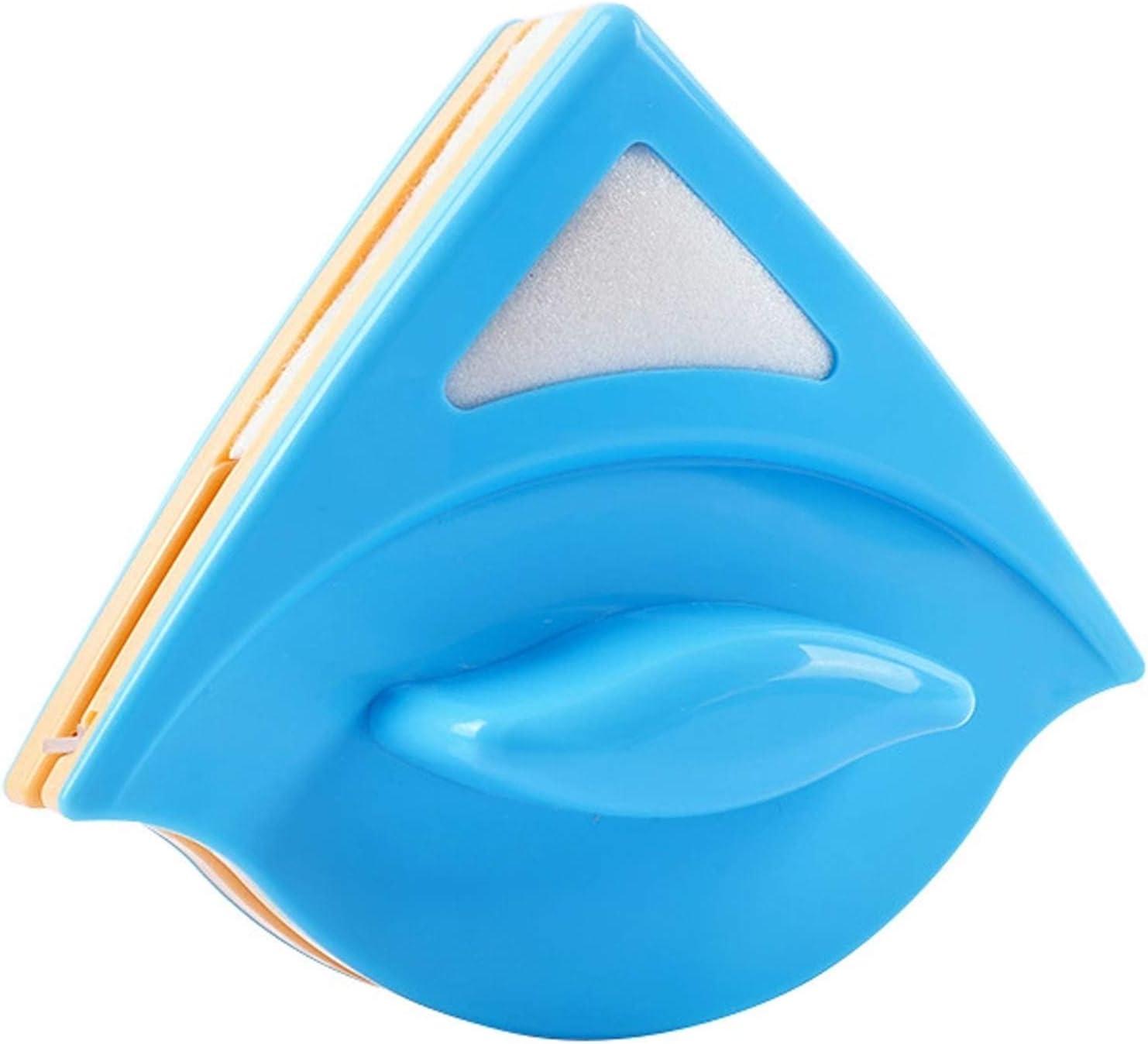Rpanle Limpiador de Ventanas Magnetico, Eficaz para Ventanas de un Solo Vidrio con Espesor de 3-8 mm, Cepillo de Llimpieza Doble Cara con Cuerda Anti-caída (Azul)