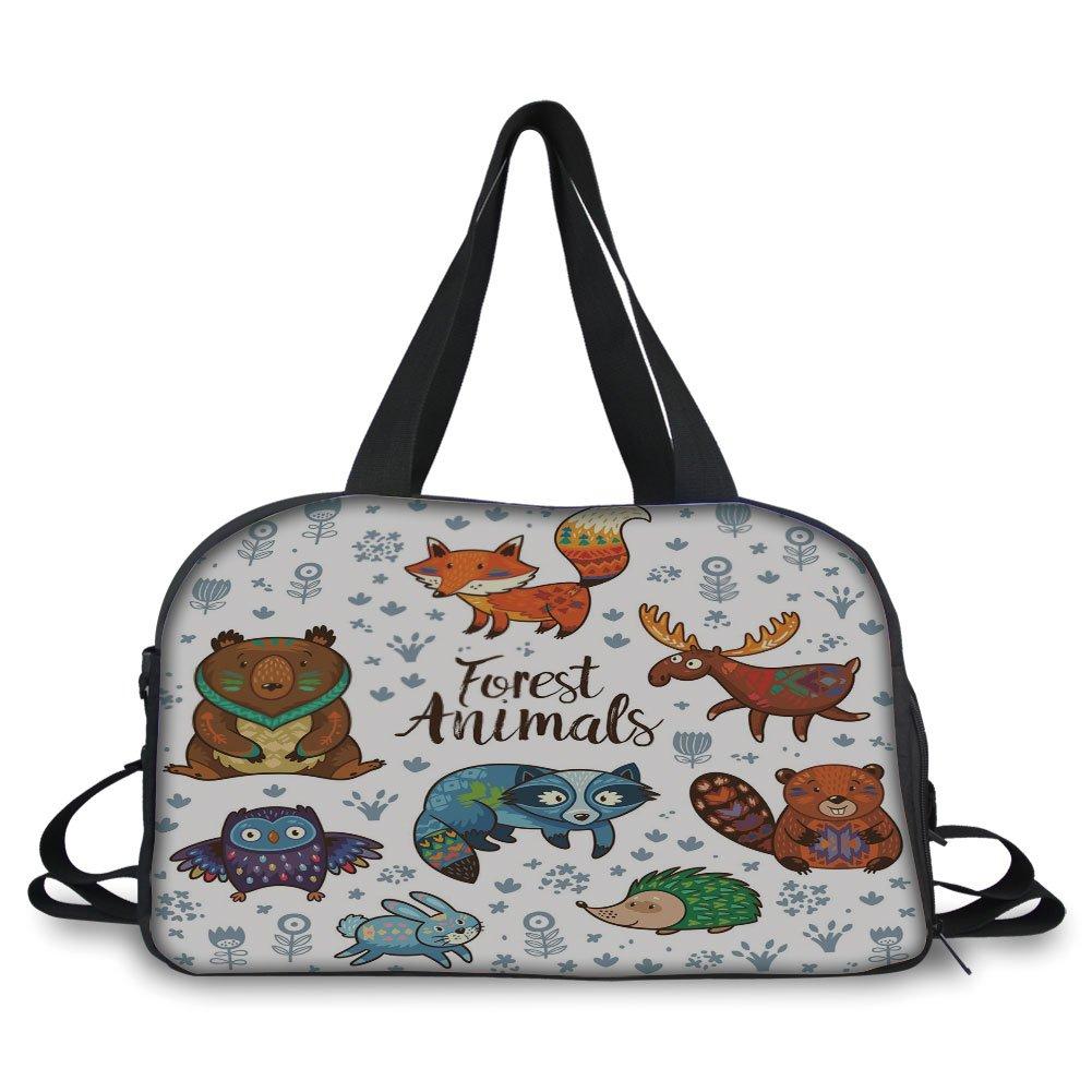 iPrint Travel handbag,Cabin Decor,Set of Cute Woodland Animals Tribal Nature Elements Kids Room Nursery Wall Art,Multicolor ,Personalized