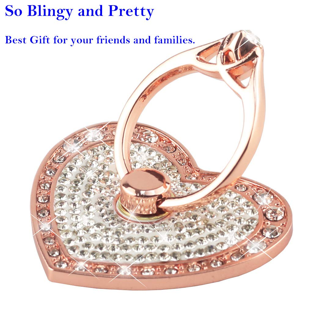 Nsiucion Phone Ring Stand Holder, Heart Crystal Diamond Rhinestone Glitter Sparkle Universal 360 Degree Rotating Portable Kickstand Grip for Any Smartphones and Tablets (Rose Gold)