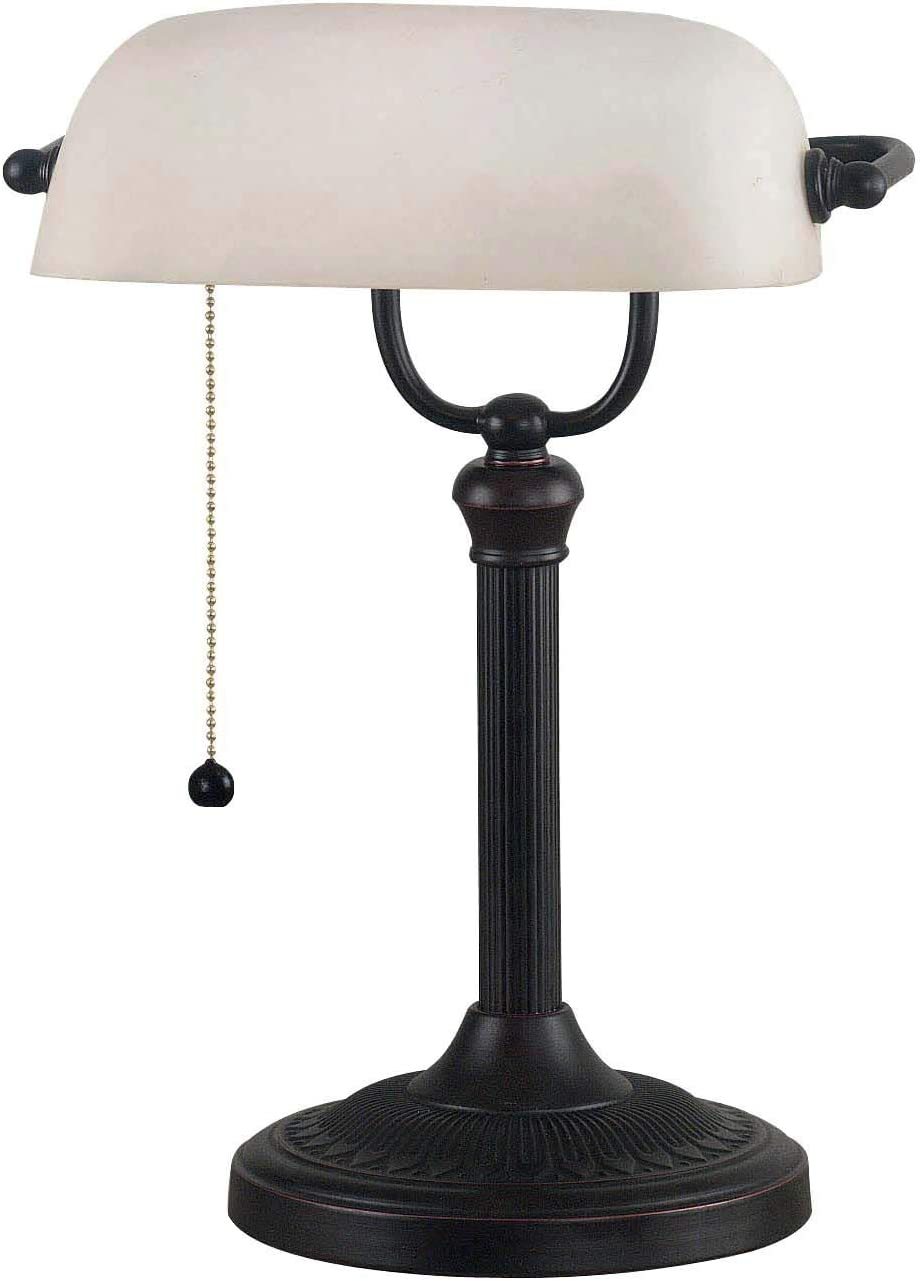 "Home Decorators Collection Amherst Banker' s Lamp, 15"" Hx11 W, Oil RBBD Bronze"