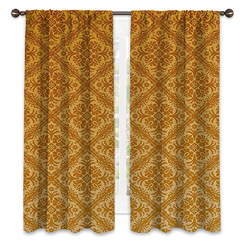SATVSHOP Textured Blackout Curtains - 96W x 96L - Lush Decor Hotel Collection Window Curtain.Floral Antique Checked Pattern Squar with Ancient Floral Ornamental Details etro Damask Apricot Gold.