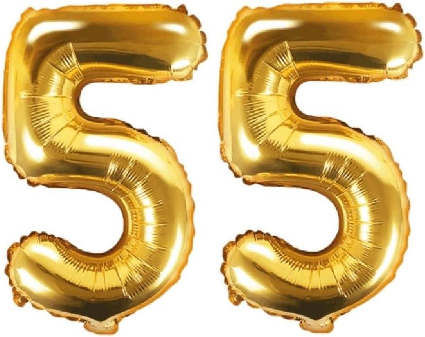 Feste Feiern Party-Deko 55 Geburtstag Schnapszahl 8 Teile Set Zahlenballon Luftballon Folie Zahl 55 Gold Schwarz Silber metallic Dekoration Happy Birthday Jubil/äum